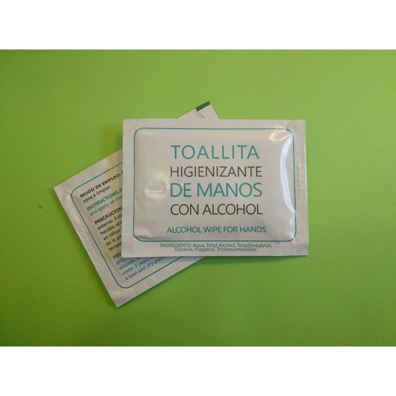 toallita hidroalcoholica con aroma y alcohol etílico e isopropílico