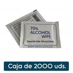 Toallita hidroalcoholica con alcohol al 70%