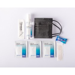 Kit anti Covid para bodas con spray hidroalcohólico y mascarilla negra