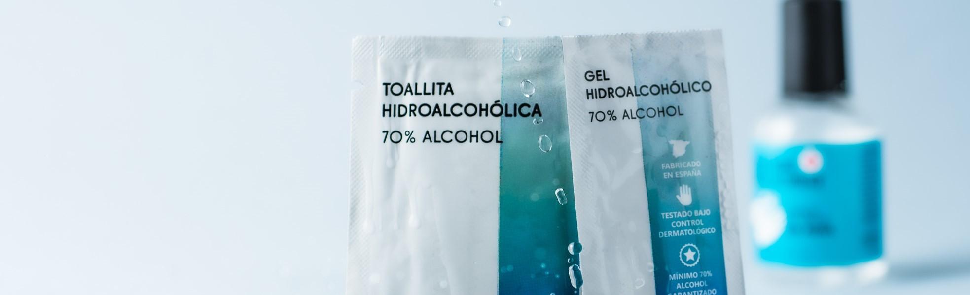 toallitas en sobres individuales para limpieza
